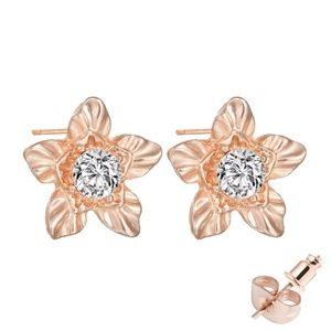 Dainty Gold Flower Crystal Zircon Stud Earrings
